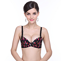 3/4 cup Nylon Seamless Bra, different size for choice & One-piece & seamless, with Cotton, printed, red lip pattern, multi-colored, Sold By PC