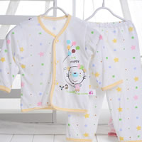 Cotton & Bamboo Fiber Baby Clothes Set, unisex & breathable, printed, Cartoon, more colors for choice, Sold By Set