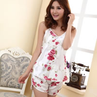 Viscose Sexy Pajama Set, breathable, boyshort & camis, printed, floral, white, Size:Free Size, 3Sets/Lot, Sold By Lot