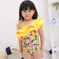 Nylon Girl Kids One-piece Swimsuit with swimming cap printed floral yellow 5Sets/Lot Sold By Lot
