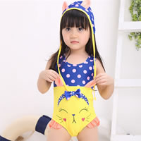 Spandex Girl Kids One-piece Swimsuit with swimming cap printed dot yellow 5Sets/Lot Sold By Lot