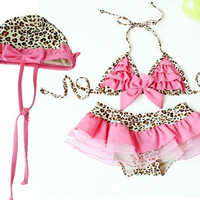 Nylon Girl Kids One-piece Swimsuit with swimming cap leopard pink 5Sets/Lot Sold By Lot