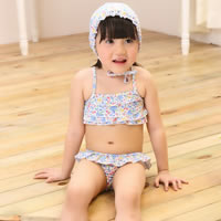 Nylon   Spandex Girl Kids One-piece Swimsuit with swimming cap printed floral blue 5Sets/Lot