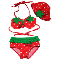 Nylon Boy Kids Two-piece Swimsuit with swimming cap with Nylon fruit pattern red 5Sets/Lot