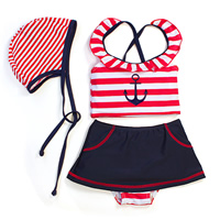 Nylon Girl Kids Two-piece Swimsuit with swimming cap striped red 5Sets/Lot Sold By Lot