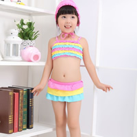 Nylon Girl Kids Two-piece Swimsuit with swimming cap striped multi-colored 5Sets/Lot