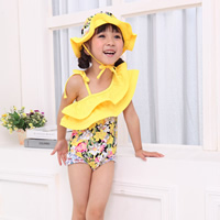 Nylon Girl Kids One-piece Swimsuit with swimming cap floral yellow 5Sets/Lot Sold By Lot