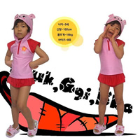 Polyester Girl Kids Two-piece Swimsuit with swimming cap Cartoon pink 15PCs/Lot