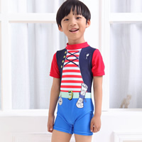 Nylon Boy Kids One-piece Swimsuit regular striped blue 5Sets/Lot Sold By Lot
