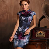 Silk Straight Women Cheongsam printed floral blue
