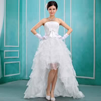 Organza Wedding Dress short front long back   tube Solid white