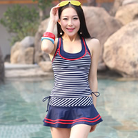 Spandex   Polyester Tankinis Set two piece   padded striped blue Size:Free Size 2Sets/Lot