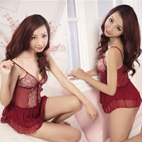 Polyester Sexy Babydoll above knee skirt   T-back floral red Size:Free Size 10PCs/Lot