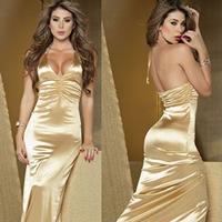 Milk Silk   Nylon Halter Dress floor-length   skinny style Solid Size:Free Size