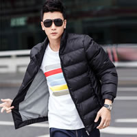 Polyester   Cotton Men Parkas regular   thermal   breathable Solid black