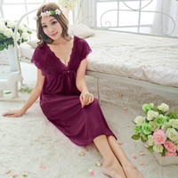 Viscose Sexy Pajama, breathable, with Lace, Solid, more colors for choice, Size:Free Size, 3PCs/Lot, Sold By Lot
