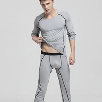 Spandex   Polyester Men Thermal Underwear Sets knitted Solid