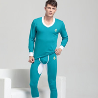 Spandex   Cotton Men Thermal Underwear Sets knitted Solid
