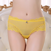 Gauze   Lace Hip-hugger Sexy Thong hollow   breathable embroider geometric Size:Free Size 12PCs/Lot