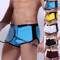 Spandex   Polyester Hip-hugger Men Sports Pants breathable Solid 5PCs/Lot