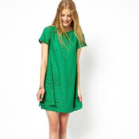 Lace   Cotton One-piece Dress hollow   above knee geometric