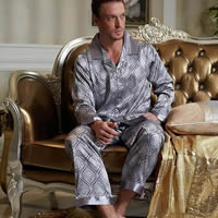 Imitation Silk Men Winter Pajama Set printed geometric