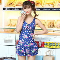 Polyester Tankinis Set two piece   breathable printed floral Size:Free Size