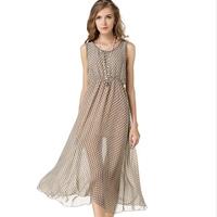 Chiffon   Polyester One-piece Dress mid-calf dot