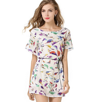 Chiffon One-piece Dress with belt   above knee printed animal prints