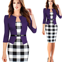 Polyester   Cotton Women Business Dress Suit skinny   knee-length   breathable printed different color and pattern for choice