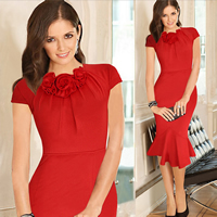 Polyester   Cotton Asymmetrical One-piece Dress Solid