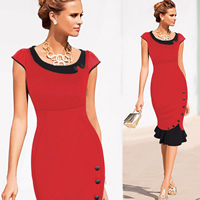 Polyester   Cotton One-piece Dress above knee Sold By PC