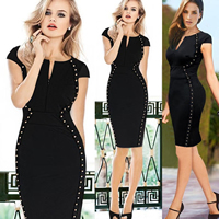 Polyester   Cotton One-piece Dress above knee Solid black Sold By PC