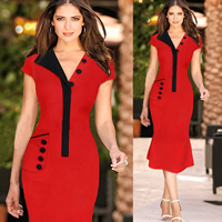 Polyester   Cotton One-piece Dress different styles for choice   knee-length