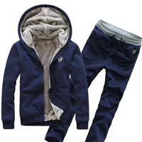 Polyester   Cotton Men Sportswear Set skinny   breathable with Velour Pants   coat Solid
