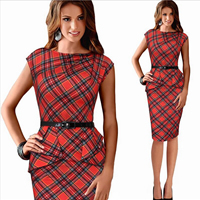 Polyester One-piece Dress with belt   above knee plaid red