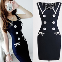 Spandex   Polyester   Cotton One-piece Dress above knee geometric deep blue Sold By PC