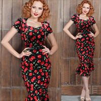 Polyester   Cotton Mermaid One-piece Dress with belt fruit pattern black