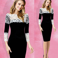 Polyester & Cotton Mermaid One-piece Dress, different size for choice, with Lace, patchwork, black, Sold By PC