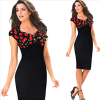 Polyester   Cotton One-piece Dress above knee fruit pattern black