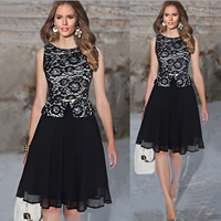 Polyester Ball Gown One-piece Dress with Lace floral black Sold By PC