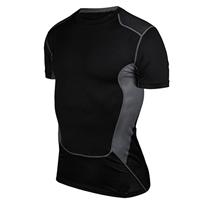 Spandex   Polyester Men Short Sleeve T-Shirt skinny patchwork