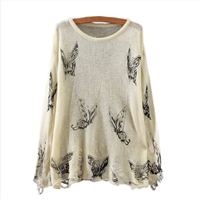 Mohair & Cotton Women Sweater, printed, butterfly pattern, beige, Size:Free Size, Sold By PC
