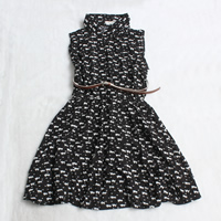 Rayon Pleated One-piece Dress with belt printed Cartoon black