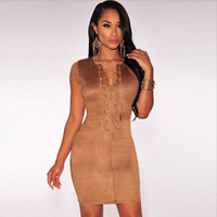 Spandex & Polyester Lace Up Sexy Package Hip Dresses, different size for choice, Solid, more colors for choice, Sold By PC