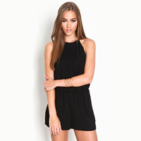 Line & Spandex Women Romper Solid black Sold By PC