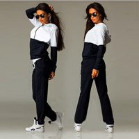Polyester   Cotton Women Sportswear Set Pants   coat patchwork