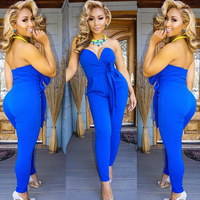 Polyester & Cotton Long Jumpsuit backless off shoulder Solid blue Sold By PC