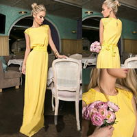 Line One-piece Dress floor-length Solid yellow
