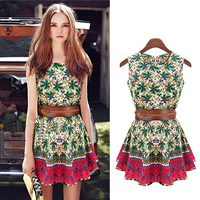 Polyester A-line One-piece Dress printed floral green